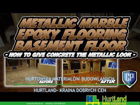 Metalowe marmurowe posadzki epoksydowe w piwnicy – jak nadać betonowi metaliczny wygląd